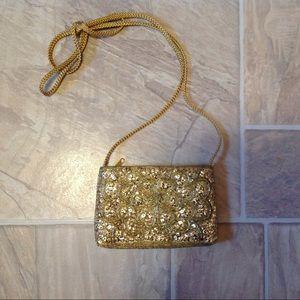 VINTAGE LA REGALE LTD BEADED SEQUIN GOLD BAG 1950s